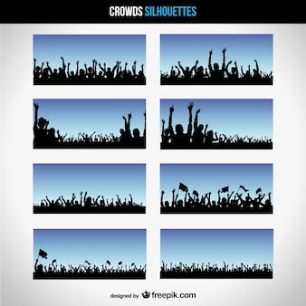 Vecteur silhouettes foule