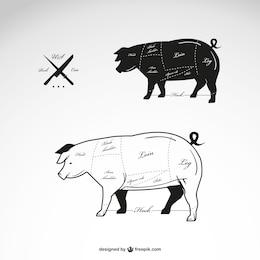 Vecteur viande de porc schéma