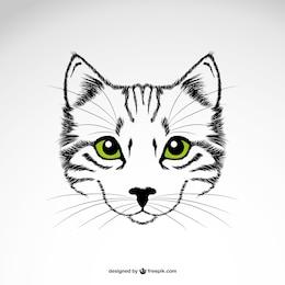 Vecteur yeux verts de chat art