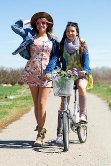 Vélo, pré, été, coucher du soleil, vélo