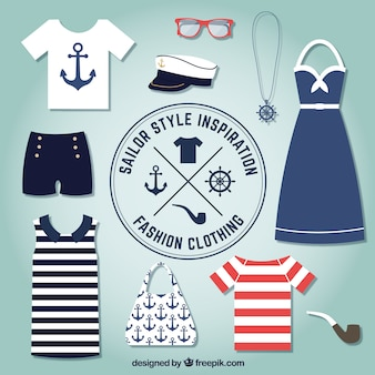 vêtements de mode dans un style marin