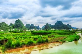 Ville, Asie, rivière, rivière, vert, rafting