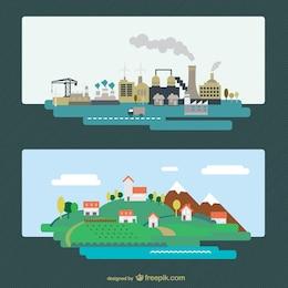 Ville industrielle et vecteur de paysage naturel