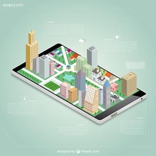 Ville isométrique sur un écran mobile