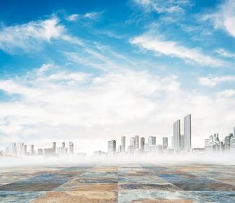 Ville sur un jour de brouillard
