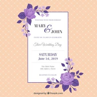 Vintage carte de mariage avec des roses pourpres