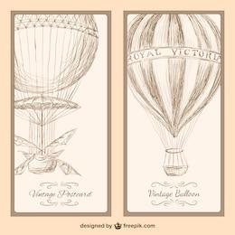 Vintage chaud carte postale de ballon à air