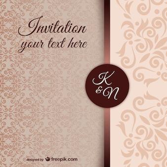 Modèle d'invitation vintage avec motif damassé