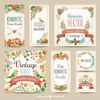 Vintage pack vecteur romantique