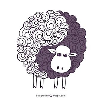 Vecteur de moutons Vintage
