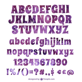 Violet aquarelle typographie