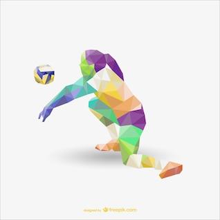 Volley-ball joueur de dessin polygonal