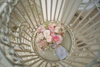 Vue de dessus de bouquet nuptiale