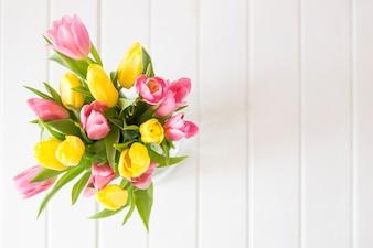 Vue de dessus de jolies tulipes