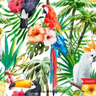 Watercolor background tropicale
