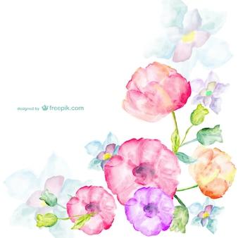 Carte fleurs à l'aquarelle de voeux