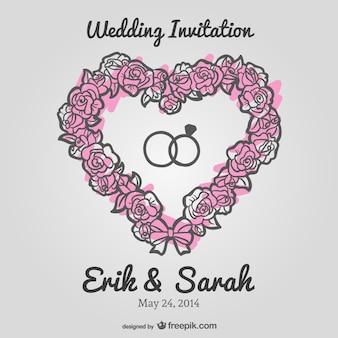 Invitation de mariage de vecteur de coeur floral