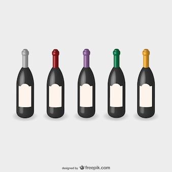 Bouteilles de vin vecteur de maquette