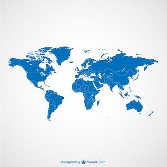 Carte du monde modèle bleu