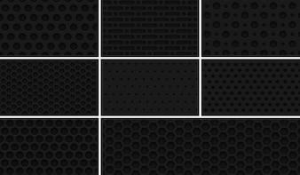 "8 Seamless ""Dark metal Grid"" Patterns"