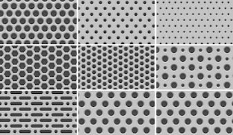 """8 Seamless """"Grid de Metal Light"""" Patterns"""
