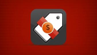 Aplicativo móvel ícone tag com US $ fita