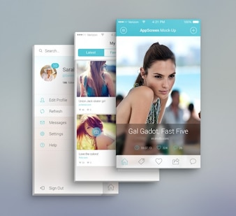 App pantalla frontal vista maqueta