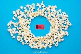 Bilhete de cinema em pipoca