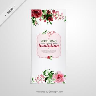 Bonito folleto alargado de boda con rosas de acuarela