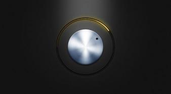 Botão de metal com led amarelo psd