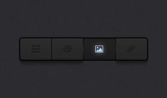 Botões botões cinza escuro botões psd ui