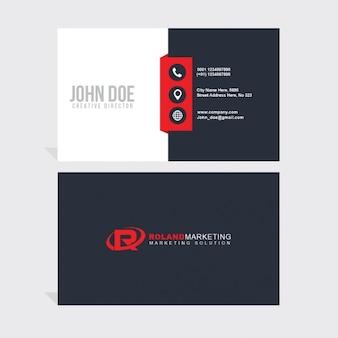 Cartão de visita geométrico vermelho e branco