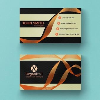 Cartão de visita minimalista com fita da laranja