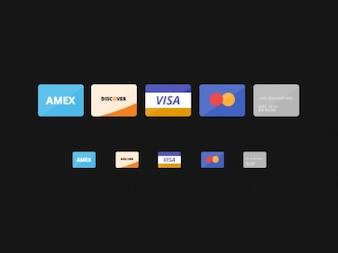 Cartões de crédito planas ícones