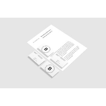 Cartões de visita e maquete de folheto sobre fundo branco