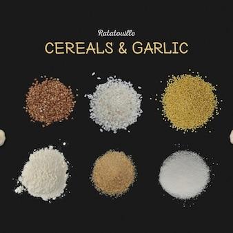 Cereais e fundo de alho