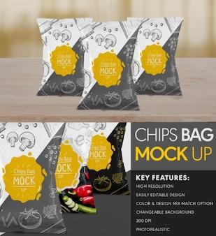 Chips, saco, maquete, cima