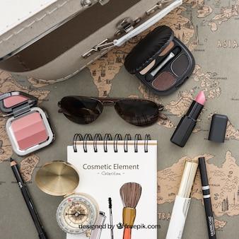 Colección de elementos de maquillaje