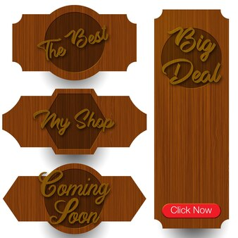 Colección de etiquetas de madera