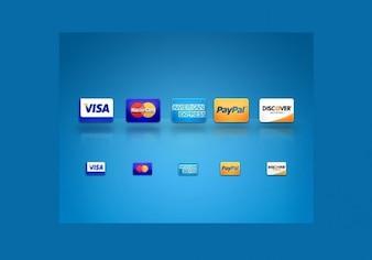 coloridos iconos de crédito web de tarjetas de configurar