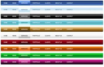 Coloridos navegación bares elementos de diseño