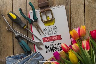 Composição do dia do pai com ferramentas