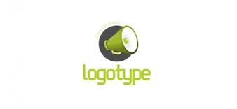 Comunicação sem modelo de design de logotipo com um altifalante