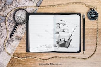 Conceito de barco à vela