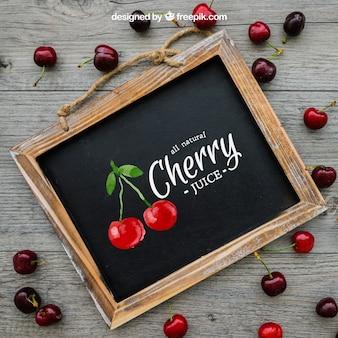 Conceito de cereja com ardósia