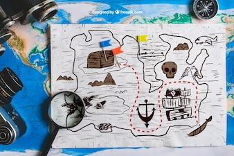 Conceito de mapa de tesouro