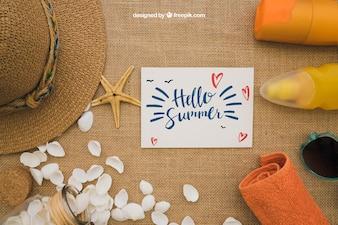 Conceito de verão com cartão