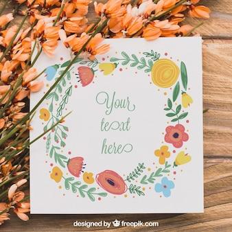Concepto floral con papel