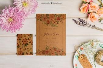 Conjunto creativo de cartón para boda