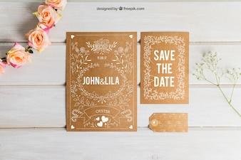 Conjunto de casamento em papelão